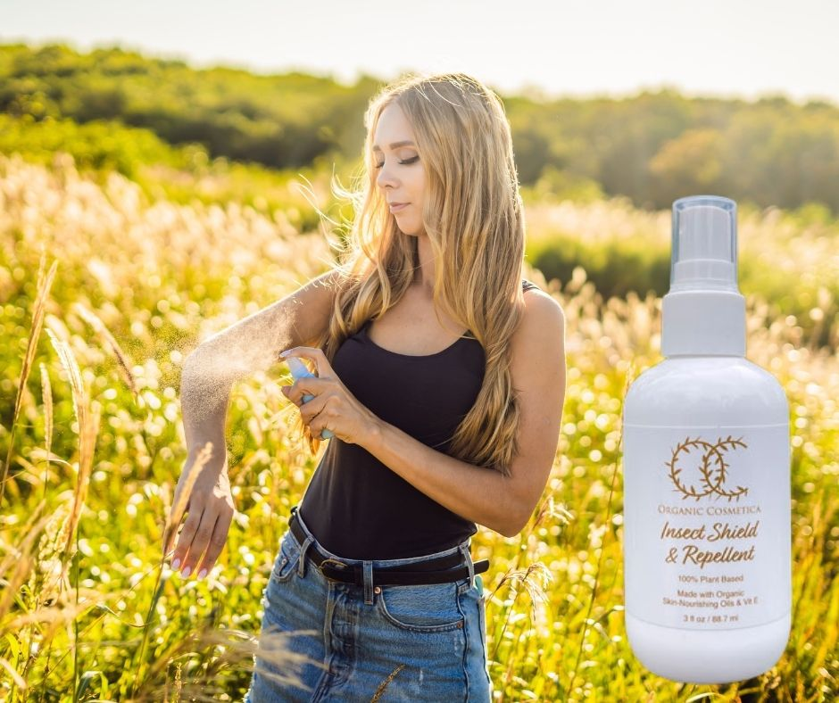 Girl using Moisturizing Organic Insect Repellent